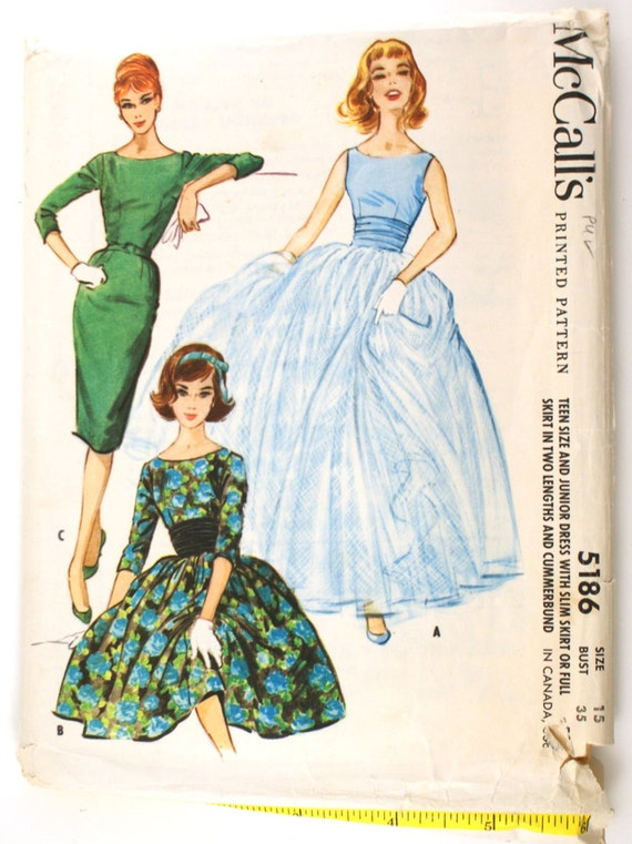 McCall's 5186 Misses 1950s Evening Gown Pattern Cummerbund Sleeveless Slim Sheath or Full Dress Overskirt Bust 35 Vintage Sewing Pattern