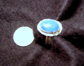 Denim lapis oval ring