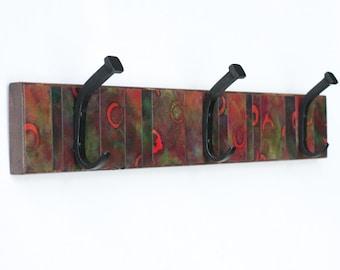Wall Coat Rack, Handmade Paper, Batik Orange Circles,  Marble Stripe Paper, Manly Decor, Green, Masculine Gift, Reclaimed Wood, Wall Storage