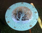 Ceramic Photographic cracked glass tree Art Tile End Table by CosmicSky