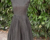 1950's/50's Black Eyelet Dress / Rockabilly Mad Men Full Skirt Dress