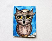 Owl Original ACEO Watercolor Painting
