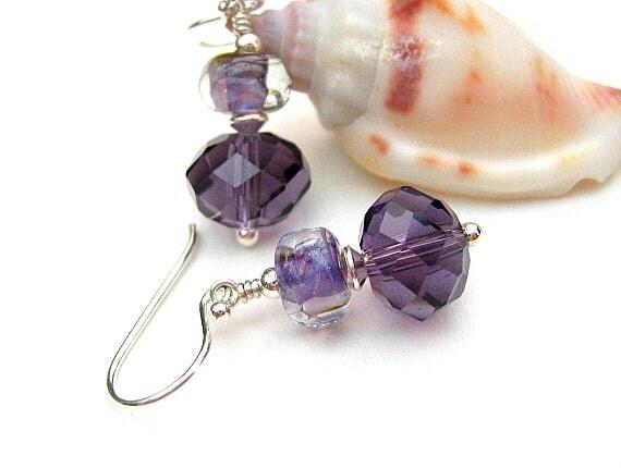 Mauve Lampwork Glass Bead Earrings, Purple Crystal Beaded Earrings,Sterling Silver Earrings - WISTERIA