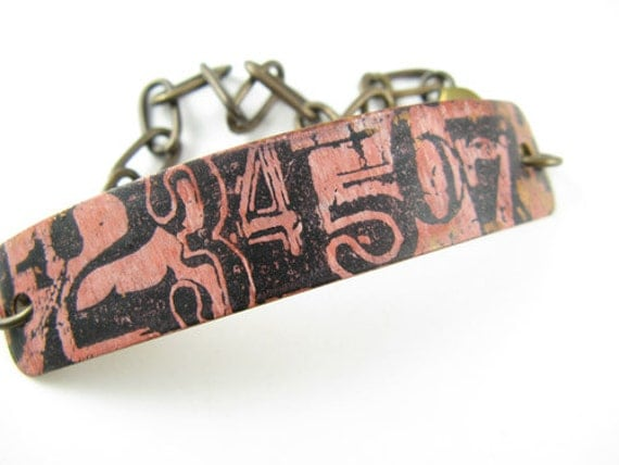 Steampunk Numbers Bracelet, Hand painted and stamped, Copper Bracelet with brass chain