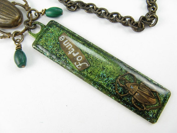 Bright green FORTUNE Scarab good luck Necklace, Scarab Beetle, Long brass chain necklace. Scarabs