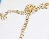 6 Feet Shiny Gold Plated Brass Extension Chains - Waved Oval 5x4mm (421C08)(160SB4)