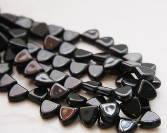 25pcs Czech Glass Triangle - Black 9mm (PG160022)D*