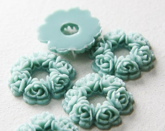 6pcs Acrylic Resin Cabochons-Flower-Light Blue 29mm (50F21)