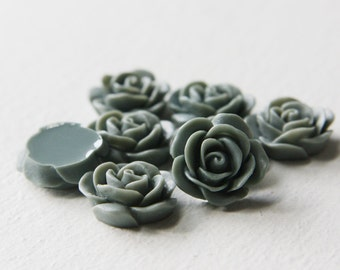 8pcs Acrylic Flower Cabochons-Grey 19mm (14F5)