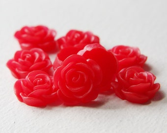 8pcs Acrylic Flower Cabochons-Red 19mm (14F6)