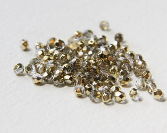 100pcs Czech Fire Polish Glass Faceted Round-Crystal and Gold 4mm (FP4194)