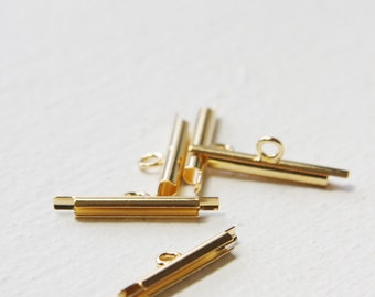 4 pcs of Gold Plated Miyuki Findings-End Tube with 1 loop - 15mm