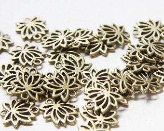 30pcs Antique Brass Tone Base Metal Links-Lotus Link 15mm (1893Y-H-183B)