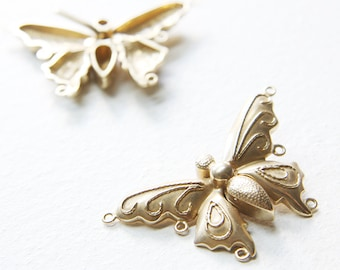 One Non-Tarnishing Three Strands Bronze Butterfly Clasp - 28x12mm