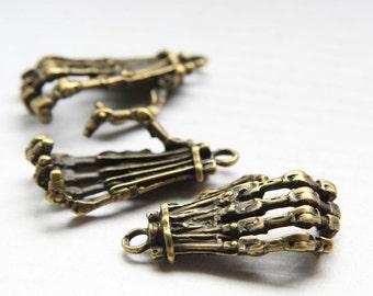 4pcs Antique Brass Tone Base Metal Charm - Hand Skeleton 38x21mm(26361Y-O-75B)