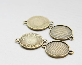14pcs Antique Brass Tone Base Metal Cameo Settings- Link 25x19mm (26458Y-O-199B)