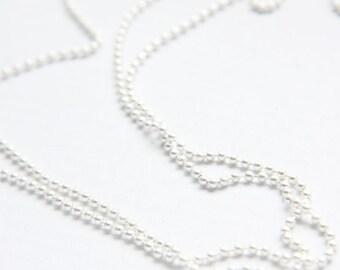 6 Feet Premium Matte Silver Plated Brass Base Ball Chains - 2mm (425C05)