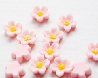 10pcs Acrylic Flower Cabochons-Pink 13mm (29F2)