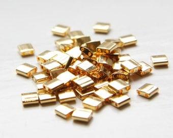 5 Grams Japanese Miyuki Tila Beads-Flat Square-Gold Opaque 5x5x1.9mm (TL191)