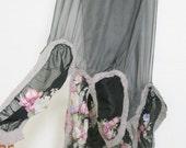Grey, Black and Flower / nuno felted silk scarf / Long Long Scarf