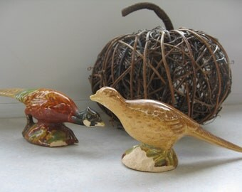 Pair of Vintage Rustic Clay and Glaze Pheasant Shaped Salt and Pepper Shakers