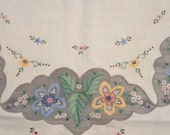 SALE-Vintage Floral Shadow Embroidery Tablecloth
