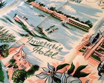 Vintage Souvenir Bermuda Tablecloth and 4 napkins
