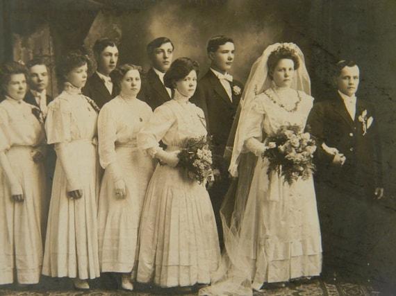 Wedding Portrait Photograph Early 1900's Line Up Bride