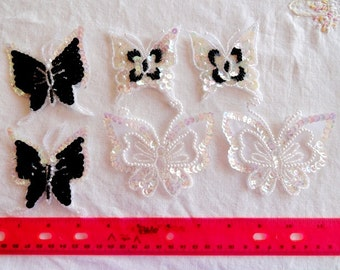 Destash Lot 6 Pieces Fancy Black and White Butterfly Embellishments or Appliques