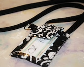 id Badge Cell Phone Sleeve|Made to FIT ANY BRAND/Size Phone Case Purse with id Window|iphone 5,6,6+,samsung galaxy4,5,6- iBlack White Damask