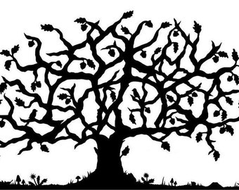 SALE personalized family tree with up to four heads hidden in the branches
