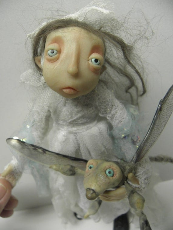 sad LITTLE goth GIRL with her pet CREATURE bug fairy ooak  art doll by DinkyDarlings