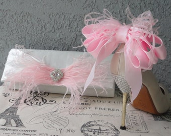 Bridal Party Wedding Clutch And Shoe Clips Set in Baby Pink More Colors Upon Request