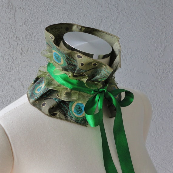 Victorian Inspired Peacock Eye Taffeta Ruffle Collar Necklace Cowl Statement Piece