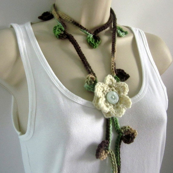 Brown Green Crochet Lariat - Womens Scarf with Cream Flower Pin - Fashion Scarf - Spring Fashion Accessories