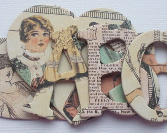 GAZETTE  -  Ladies Diary Chipboard Alphabets Frame and Note Die Cuts -  1.5 inch Letters