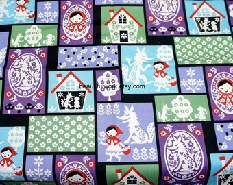 Japanese fabric fairy tales selection Little red riding hood A3
