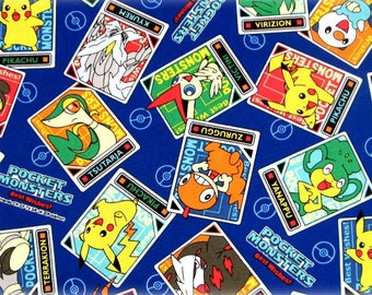 "Pokemon Fabric pokemon and stars fat quarter 50 cm by 53 cm or 19.6"" by 21"""