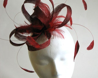 Large red sinamay bridal fascinator - special occasion mother of the bride headpiece