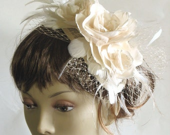 Ivory silk rose feather bridal fascinator - silk flower wedding headpiece