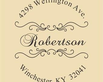 Custom Return Address Stamp Robertson Design R042