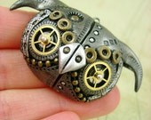 Little MechOwlie Face - Industrial Steampunk Polymer Clay Owl - Pendant / Necklace