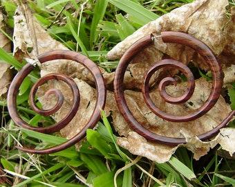 Fake gauge earrings, Hand Craved, Natural Sono Wood ,tribal style Split Gauge Earrings Sprial XXL,organic