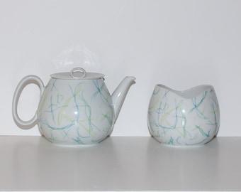 Rosenthal Continental China Raymond Loewy Threads Teapot Sugar Bowl Set