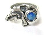 Blue Ocean,  Bird Ring, ocean ring, seagull ring, sterling silver ring, 5mm blue opal with green flashes