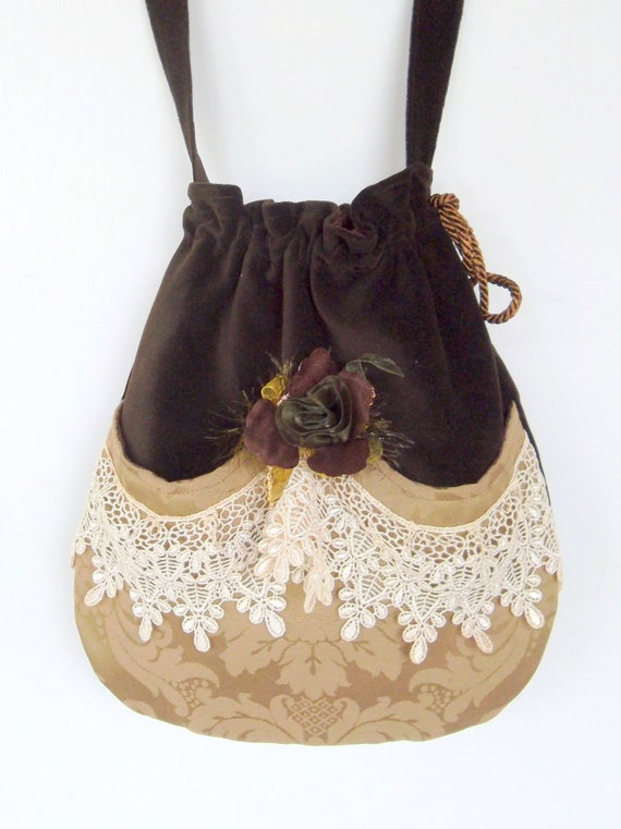 Victorian Bag Rose and Lace   Mori Girl  Brown Velvet Bag  Drawstring velvet bag Bag  Crossbody Drawstring Bag  Evening Bag