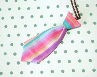 Unisex Mini Tie Rainbow Stripe Necklace Pin