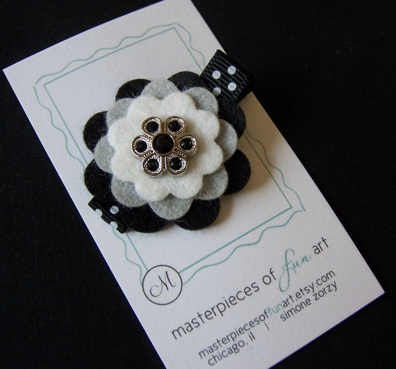 Black, Gray and White Layered Felt Hair Clip - Felt Clippies - Toddlers and Big Girls - Cute for Fall and Back to School