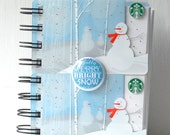 HOLIDAY STARBUCKS LARGER Upcycled Christmas Gift Card Spiral Notebook or Notepad with Flair Button or Badge