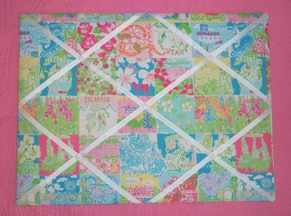 New memo board made with Lilly Pulitzer State Of Mind fabric
